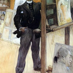 """Carl Larsson A Self Portrait - 16"""" x 24"""" Premium Archival Print - 16"""" x 24"""" Carl Larsson A Self Portrait premium archival print reproduced to meet museum quality standards. Our museum quality archival prints are produced using high-precision print technology for a more accurate reproduction printed on high quality, heavyweight matte presentation paper with fade-resistant, archival inks. Our progressive business model allows us to offer works of art to you at the best wholesale pricing, significantly less than art gallery prices, affordable to all. This line of artwork is produced with extra white border space (if you choose to have it framed, for your framer to work with to frame properly or utilize a larger mat and/or frame).  We present a comprehensive collection of exceptional art reproductions byCarl Larsson."""