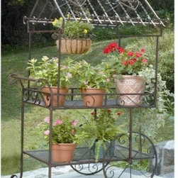Deer Park Ironworks Large Flower Cart - We especially enjoy the Deer Park Ironworks Large Flower Cart for our flowers and potted plants because it is charmingly left of the dial. And it can hold such a wide variety that it can easily becomes a center peace of your patio. Our large cart made of heavy gauge steel features two shelves for flowers, plants, or gardening tools, while a top shelf, embellished with impressive iron scroll work, has the added protection of a spill-guard railing. The entire cart is toped off with house roof-shaped framework for hanging even more plants. And don't worry about this cart rolling away – its two faux metal wheels and resting feet keep it in place wherever you place it.About Deer Park Ironworks Deer Park Ironworks has a reputation as a premier wrought iron lawn and garden company. They create timeless designs with quality materials and price them at competitive rates. All of their products are made from heavy gauge steel and have a durable powder-coated finish, which are Earth-friendly since they emit zero, or near zero, volatile organic compounds. Deer Park's powder-coating finishes also produce a much thicker coating than conventional liquid coatings that sometimes run or sag. Furthermore, Deer Park's products feature a unique natural patina appearance that complements any decor or color scheme. And their decorative baskets, wall planters, and window boxes come with a fitted coco liner that is a natural product that helps with proper drainage and provides a healthy environment for your plants to grow.
