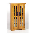 Leslie Dame - Mission Style Wall Hanging Media Cabinet w Ad - This media cabinet mounts to your wall to provide maximum storage without taking up floor space. Features adjustable shelves to house any of your music or movies with ease and glass doors for added style and easy visibility. Oak finish. Fully adjustable shelves allowing for storage of DVD's, CD's, Videocassettes, and Game Cartridges. Including hand-rubbed Oak Veneer, Tempered Glass and Antique finished Metal door pulls. Available in various finishes. Some assembly required. Holds 190 CDs. 41 in. H x 20 in. W x 5 in. DMultimedia Storage Cabinets has the rare combination of timeless design and high quality construction.