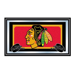 Trademark Global - Framed NHL Chicago Blackhawks Team Logo Mirro - Great for gifts and recreation decor. Mirror with print. Black wrapped wood frames. 26 in. W x 15 in. H (10 lbs.)This National Hockey League Officially Licensed Team Logo Wall Mirror is the perfect gift for the Hockey Fan in your life.