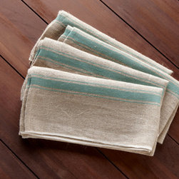 Provence Linens - Set out a pile of these soft linen napkins along with forks and knives for a rustic, family-style approach to entertaining. It not only looks good, it's a snap to do and appears far less fussy than full place settings.