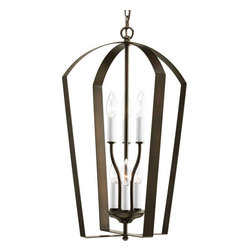 Progress Lighting - Progress Lighting P3929 Gather Six-Light Candelabra Foyer Pendant with Flat Meta - A flattened metal cage protects the six candelabra bulbs of this foyer pendant.Features: