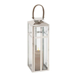 Benzara - Traditional Style Designer Steel Candle Lantern with Faux Leather Handle - Traditional style designer steel candle lantern with faux leather handle. This steel candle lantern will offer comfort and solace on dark and lonely nights with its illuminating radiance. Some assembly may be required.