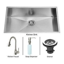 Vigo - Vigo Undermount Kitchen Sink, Faucet and Dispenser, Stainless Steel (VG15016) - Vigo VG15016 Undermount Kitchen Sink, Faucet and Dispenser, Stainless Steel