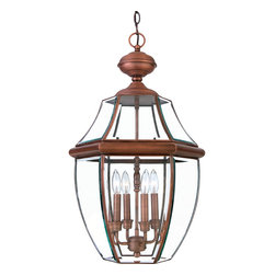 Cambridge - Newbury Aged Copper Finish Extra-large Hanging Lantern - When it comes to curb appeal,outdoor lighting plays a large part in creating a special ambiance. The classic design and beveled glass of the Newbury gives the outside of your home a rich elegance,without making it look over-embellished.