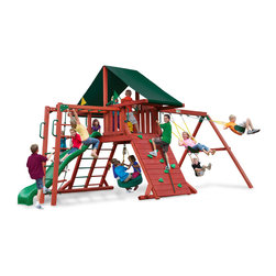 Gorilla Playsets - Sun Climber Swing Set With Sunbrella Canvas Forest Green, Ii - Scramble to the top with the Sun Climber II Swing Set with Sunbrella Canvas Forest Green Canopy by Gorilla Playsets in your backyard! This swing set was designed to keep kids busy with monkey bars, rock wall and a rope ladder, all while building strength and coordination. The play deck is protected with an authentic Sunbrella canopy. This premium cedar wood playset is pre-cut, pre-sanded, pre-stained and ready to assemble in your backyard over the weekend. The entire playset is finished in a beautiful redwood stain.  Gorilla Playsets' cedar naturally resists rot, decay, and insect damage.