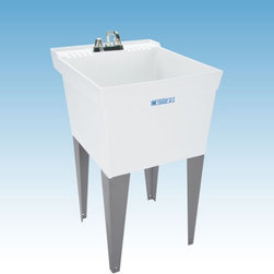 Mustee - Mustee 19F Single Basin Floor Mount Utility Sink - 19F - Shop for Commercial Laundry and Utility from Hayneedle.com! The Mustee 19F Single Basin Floor Mount Utility Sink is a one-piece leak proof unit that makes a great soaking station or intermediary stage between laundry loads. Made from a proprietary thermoplastic resin that's naturally resistant to mold and mildew this 18-gallon basin features a 13-inch depth and a leak-proof integrated drain (with a stopper). The self-draining back shelf attached to the piece features a retainer curb that prevents water runoff. Heavy-duty steel legs support the piece which is fitted for a 4-inch diameter faucet (not included).About Trumbull IndustriesFounded in 1922 as a single branch plumbing supply house Trumball Industries has evolved over the years in to a privately held corporation and full-line distributor with specialized divisions. With 6 branch locations Trumball Industries has several divisions: an Industrial Division that provides products and services to industrial manufacturers a Home Center Division that offers expertise in all major kitchen and bath products a Municipal Division that offers a full line of water and sewer products and a Master Distribution Center with 500 000 square feet housing over 80 000 products. Aside from providing quality services to their customers the people at Trumbull Industries are happy provide a tour of any of their facilities as well as assist you with any design layout or purchasing decisions.