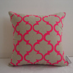 Pink Geometric Design Cushion Cover by Aqua Door Designs