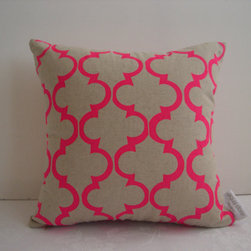 Pink Geometric Design Cushion Cover by Aqua Door Designs - A classic tile pattern on natural linen is modernized with neon pink — because even the most traditional homes can use a jolt of color.