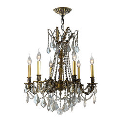 Worldwide Lighting - Worldwide Lighting W83305B23-GT Solid Brass 6-Light Golden Teak Crystal Chandeli - Worldwide Lighting W83305B23-GT Solid Brass 6-Light Antique Bronze Finish with Golden Teak Crystal Chandelier