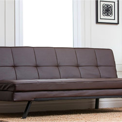 Abbyson Living - Abbyson Living Newport Double Cushion Convertible Sofa - A Newport faux-leather convertible futon sofa by Abbyson Living saves space in your living room without sacrificing style. With a double-cushion futon mattress made from high-density foam, this wood-frame sofa is comfortable for sitting or sleeping.