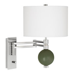 """Color Plus - Contemporary Secret Garden Niko Swing Arm Wall Lamp - From the Color + Plus™ lighting collection this swing arm wall lamp lets you add a sophisticated designer color accent to your home decorating. The lamp is custom-made by artisans in our California workshops. It features a designer Secret Garden green color glass ball finial a stunning chrome finish and white drum shade. Installation is easy simply mount the lamp and plug in to any standard wall outlet. Swing arm wall lamp.Exclusive Secret Garden green designer color. White poly cotton shade. Chrome finish. Easy plug-in style. Full-range dimmer. Maximum 100 watt or equivalent bulb (not included).18"""" high. 21"""" extension. Shade is 12"""" wide 8"""" high. Glass ball finial is 4 1/2"""" wide. Backplate is 9"""" high 3 1/2"""" wide.  Swing arm wall lamp.  Exclusive Secret Garden green designer color.  White poly cotton shade.  Chrome finish.  Easy plug-in style.  Full-range dimmer.  Maximum 100 watt or equivalent bulb (not included).  18"""" high.  21"""" extension.  Shade is 12"""" wide 8"""" high.  Glass ball accent is 4 1/2"""" wide.  Backplate is 9"""" high 3 1/2"""" wide."""
