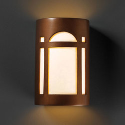 Justice Design Group - Ambiance Antique Copper Small Arch Window Bathroom Wall Sconce - - Small Arch Window Open Top and Bottom Wall Sconce.  - Shade Material - Ceramic  - Shade is made in the USA; canopy and socket(s) are imported Justice Design Group - CER7385ANTC