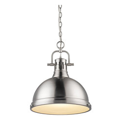 Golden Lighting - Golden Lighting Duncan 1 Light Pendant - Contemporary Style with industrial feel. Simple, classic silhouette. Fixture body is available in Chrome, Aged Brass, and Pewter. Variety of plated and painted metal shade finishes. Frosted glass diffuser. A pendant bowl provides a glowing presence in dining and entry areas. Brings a high and diffuse light to kitchen or task areas. Allows for greater open area around the fixture.  Chain Length: 6 foot. Wire Length: 10 foot.