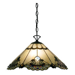 Warehouse of Tiffany - Tiffany-style Warehouse of Tiffany Courtesan Hanging Lamp - Provide a delightfully traditional accent for your home with this beautiful Tiffany-styled glass hanging lamp. The lamp features a time-honored cut-glass design that gives it an elegantly detailed look that turns the piece into an actual work of art.