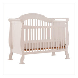 Stork Craft - Stork Craft Valentia 4-in-1 Fixed Side Convertible Crib in White - Stork Craft - Cribs - 04587251 - The Valentia Fixed Side Convertible Crib surrounds your little darling in comfort and style with this beautiful sleigh designed crib.Curved edges flowing lines and a gorgeous white finish create a crib that even royalty would adore. With secure static side rails and an adjustable one piece mattress support base this piece provides crucial stability and function. This crib is not only delightful but it is a smart investment; converting from a standard crib to a toddler and daybed but ultimately into a full-size bed complete with headboard and footboard (full size bed rails not included). Set-up this royal piece with ease by following the simple easy to follow assembly instructions provided by Stork Craft. Complete your nursery look by adding a Stork Craft changing table chest dresser or glider and ottoman.