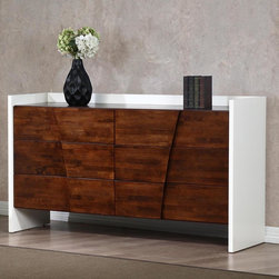 None - Venus Autumn Oak 6-drawer Dresser - The Venus six-drawer dresser is sure to add style to your bedroom with its beautiful autumn oak and white finish. This dresser offers a durable rubberwood and veneer construction that makes it a must have for any home.