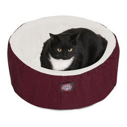 "MAJESTIC PET PRODUCTS - Cat Cuddler Pet Bed, Burgundy, 20"" - Our Small Cat Cuddler Pet Bed from Majestic Pet Products is the perfect place for your feline friend to curl up for a nap in perfect comfort. The machine washable cover has a sturdy Poly/Cotton Twill shell with a lush sherpa inner lining, and covers a cushion of super soft orthopedic grade foam."