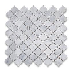 "Stone Center Corp - Carrara Marble Mini Lantern Shaped Arabesque Baroque Mosaic Tile Honed - Carrara White Marble mini lantern shaped pieces mounted on 12x12"" sturdy mesh tile sheet"