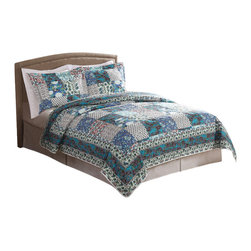 Pem America - Groton King Quilt with 2 shams - Rich looks from remote locations come to mind when you look at Groton.  This parch work print brings in complex designs and unique colors into your bedroom. Quilt set includes 1 king quilt, 100 x 90 inches and 2 standard shams, 20x26 inches. 100% microfiber polyester face and reverse.  Filled with 50% cotton / 50% polyester. Machine washable.
