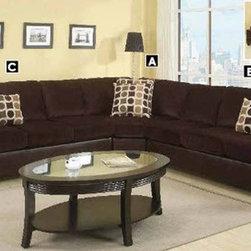 Poundex Furniture – U-Shaped Modular Microfiber Sectional Sofa - F7233/F7231/F72 - Set Includes 3-Seater w/ Arm , Cuddle Wedge, 3-Seater