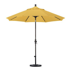 California Umbrella - California Umbrella Patio Umbrellas 9 ft. Aluminum Collar Tilt Patio Umbrella - Shop for Outdoor Patio Furniture at The Home Depot. Designed for convenience value and performance California Umbrella products bring the full weight of our design experience to your table. California Umbrella pioneered and developed the original and revolutionary Collar Tilt feature to tilt your umbrella to any degree you wish while you enjoy the afternoon and evening outside. We still boast the widest tilt degree in the Market allowing you to stay outside longer with your family and friends. Olefin fabrics are an excellent fabric choice for customers looking to shade their space on a budget without sacrificing quality. Made with high durability synthetic Olefin fibers Olefin fabrics offer improved fade resistance over lesser grade fabric materials like polyester and cotton without the added expense of acrylic canvas. Olefin fabrics are a strong value so with some basic care they can give you several years of enjoyment. Olefin color selections match up perfectly with all the most popular colors on the market so your shade solution is beautiful without breaking the budget.