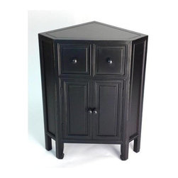 Wayborn - Suchow Corner Cabinet - 2 Drawers. 1 Two-door storage cabinet. Made from Pinus Sylvestris. Antique smooth finish/worn. 23.75 in. W x 16 in. D x 30 in. H (26 lbs.)