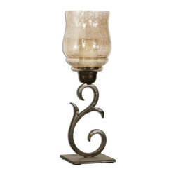 Uttermost - Uttermost Sorel Small Candleholders (Set of 2) - Hand forged metal finished in antiqued bronze with a transparent, copper brown glass globe. White candles included.
