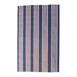 BrandWave - The Polk, Stripes, White, with shades of blue - This traditional, all-American, family rug is composed of bold red, cream and navy stripes.