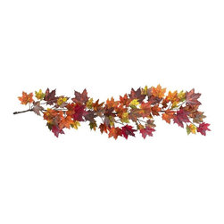 "60"" Maple Leaf Garland - The chill in the air. . the bountiful harvest. . falling leaves - it's unmistakably Autumn. At least that's how you'll always feel with this colorful 60"" Maple Leaf Garland. Littered with the multicolored hues that define Maple Leaves in Fall, this Garland perfectly captures what we love about Autumn. And hey, leave one up all year round "" so it's always fall somewhere (after all, these won ""t dry out). Height= 60 In. x Width= 12 In. x Depth= 6 In."