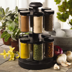 Kamenstein - Kamenstein 'Spice Up Your Health' 12-jar Revolving Spice Rack - Easily organize and store your favorite flavors with this convenient revolving spice rack. The glass-and-plastic construction has created a modern masterpiece for your counter, and the set comes complete with all of the major gourmet spices.