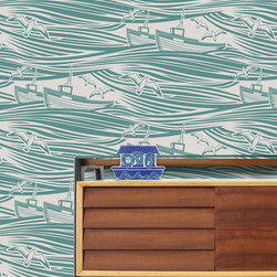 Whitby Wallpaper, Lido - This wallpaper is so wonderful, isn't it? It would make a wonderful dreamscape for any room, and it's a beautifully expressive take on ships at sea.