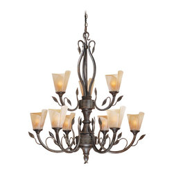 Vaxcel - 9L Chandelier w/ Excavation Glass - Vaxcel Lighting CP-CHU009BW 9 Light Capri Chandelier This product from Vaxcel Lighting comes in a black walnut finish. Features excavation glass. Works
