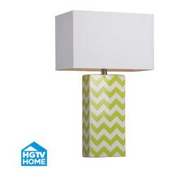 HGTV HOME - HGTV HOME HGTV278 Hgtv Home 1 Light Table Lamps in Citrus Green / White Chevron - Green and White Chevron Print Ceramic Table Lamp