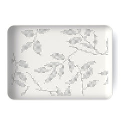 Gray Leaves Rectangular Dish