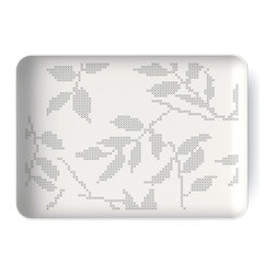 MENU - Gray Leaves Rectangular Dish - Simple and understated — this serving platter won't detract from your culinary creations. Artisan-designed, this porcelain dish features a delicate leaf pattern. You'll continue to enjoy its timeless beauty for many years.