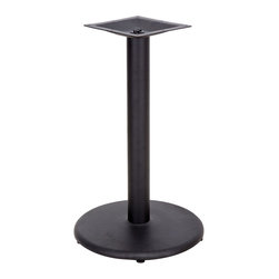 """Flash Furniture - 24'' Round Restaurant Table Base with 4'' Table Height Column - Complete your restaurant, break room or cafeteria with table bases and coordinating table tops. This table base is designed for commercial use so you will be assured it will withstand the daily rigors in the hospitality industry. Whether you are just starting your business or upgrading your furniture this table base will complete the look.; Restaurant Table Base; Round Base Configuration; Cast Iron Construction; Easy 2-Piece Assembly with Single Bolt; Top Plate Pre-Welded to Column; Black Powder Coated Finish; Available in Table Height or Bar Height; Designed for Commercial Use; Designed for 30"""" to 36"""" Round and Square Table Tops; Designed for 24"""" x 30"""" to 30"""" x 42"""" Rectangular Table Tops; Assembly Required: Yes; Country of Origin: China; Warranty: 2 Years; Dimensions: 30""""H x 24""""W x"""