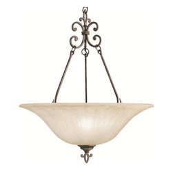 Kichler - Kichler 3391CZ Wilton 3-Bulb Indoor Pendant with Bowl-Shaped Glass Shade - Kichler 3391 Wilton Inverted Pendant