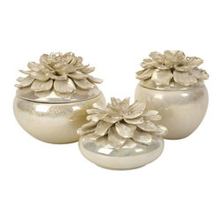 Floral Bowls - Set of 3 - Bring the outdoors in with this set of 3 Floral Bowls. Their glazed taupe exterior and petal lids add texture and dimension to the table surface without too much visual distraction. Store jewelry, sweets and other small items in the bowls. Perfect for displaying as a set in the bedroom, entryway or powder room.