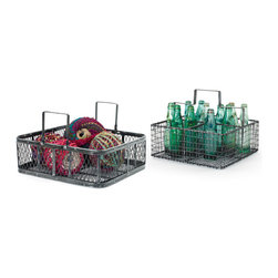 Go Home - Go Home Set of Two Carting Baskets - Bring home the Set of Two Carting Baskets for adding more functionality to your garden space. It is made of top-quality steel featuring blackened finish for a vintage industrial chic appearance. This ideal baskets set  has given a simply alluring and enduring outlook. You can use these baskets to store empty bottles, old newspaper, playing balls etc. to avoid messy look.