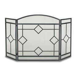 Pilgrim Home & Hearth - Napa Forge Art Nouveaq 3 Panel Folding - Pilgrim Home & Hearth / Napa Forge Art Nouveaq 3 Panel Folding Screen  Black Finish - Classic diamond design across 3 panels.  10 Year Limited Warranty