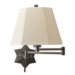 House Of Troy - House Of Troy WS751 Transitional Swing Arm Wall Lamp X-BO-157SW - A great addition to any library or reading space this decorative swing arm wall lamp is as beautiful as it is functional. The start pattern on the base is a bold and elegant touch while the simple white shade creates warm ambient lighting throughout the room. The oil rubbed bronze finish creates a look that is full of character and charm.