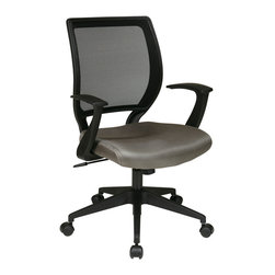 Office Star - Office Star Screen Back Task Chair With T-Arms and Grey Seat - Screen Back  and Mesh Seat Task Chair with  InchT Inch Arms. Locking Tilt Control with Adjustable Tilt Tension. Fixed Designer Arms. Heavy Duty Angled Nylon Base with Dual Wheel Carpet Casters. Available in Grey (-2). What's included: Office Chair (1).