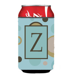 Caroline's Treasures - Letter Z Initial Monogram - Blue Dots Can or Bottle Hugger - Can Cooler - this collapsible koozie fits 12 ounce beverage.  Cans or bottles.  Permanently dyed and fade resistant. Will not crack or peel.  Great to show off your breed.  Match with one of the insulated coolers for a nice gift pack.