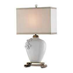 Currey and Company - Minuet Table Lamp - This lamp is another beautiful white on white creation. The oval porcelain vase has handmade porcelain flower appliques and a unique cast brass mounting. The complementary silk shade has a gold lining and combination trim.