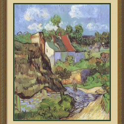 Amanti Art - House at Auvers, 1890 Framed Print by Vincent Van Gogh - Bring the powerful strokes and striking colors of this Van Gogh masterpiece to your decor. Beautifully matted and framed, the print makes a striking yet soothing statement in your favorite traditional setting.