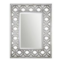Ulmer- Mirror - Moroccan Moticn Pierced Fret Frame Beveled Mirror in Silver Wash Finish