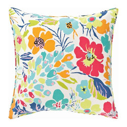 Pine Cone Hill Hot House Floral Summer Decorative Pillow - One of my all-time favorite designs, this Hot House Floral Summer pillow is bright and cheerful.