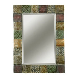 """Uttermost - Uttermost 13367 B Ganya Beveled Mirror With Embossed Metal Collage Frame - Uttermost 13367 B Grace Feyock Ganya MirrorThis decorative mirror features hand embossed sheet metal over convex wooden squares. Frame is finished in a combination of rust brown, sage green, aged white, antiqued gold and mahogany. Mirror features a generous 1 1/4"""" bevel. May be hung either horizonFeatures:"""