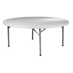 "Office Star Products - 71"" Round Resin Multi Purpose Table - 71"" Round Resin Multi Purpose Table; Series: Folding Resin Multi Purpose; Color: Resin; Materials: Resin; Durable Construction; Light Weight Sleek Design; Powder Coated Tubular Frame; Ideal for Indoor or Outdoor Use; Easy Storage; Meets or Exceeds Test Standards (BIFMA and MTL); Dimensions: 71""W x 71""D x 29.25""H"